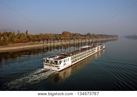 Ship goes on the river Danube in Budapest