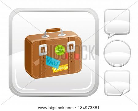 Sea beach and travel icon with suitcase and other blank button forms
