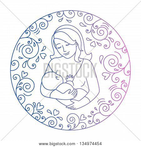 Mother breastfeeding.Nursing mother and baby in a round frame of curls and hearts.Concept of motherhood.Doodle style .Vector illustration