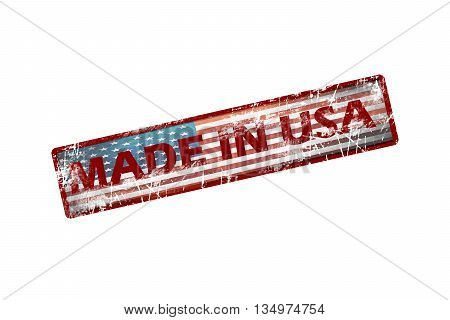 Rubber stamp with text Made in USA icon isolated on white background. american flag.usa flag.grunge flag