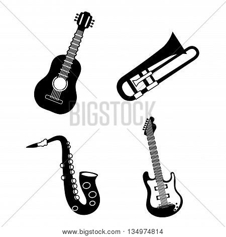 Music instrument concept represented by saxophone, trumpet and guitar  icon over flat and isolated background
