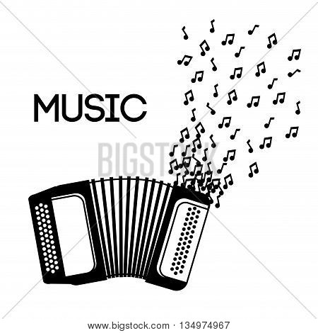 Music instrument concept represented by accordion icon over flat and isolated background