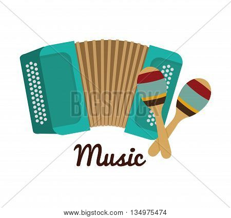 Music instrument concept represented by accordion and  maraca icon over flat and isolated background