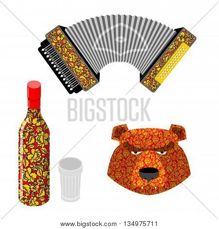 Russian Symbol Icon Set. Bear, Vodka And Accordion. Traditional Russian Khokhloma Painting.