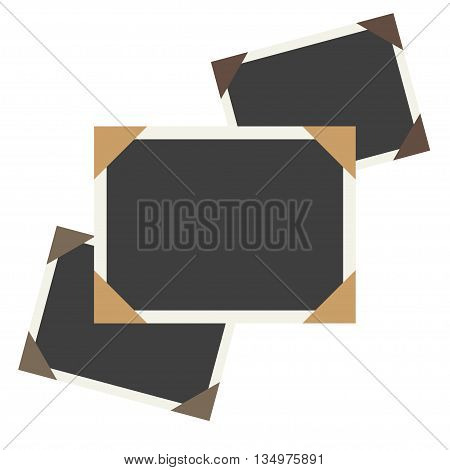 Vector photo framework on old aged background paper. Page decoration