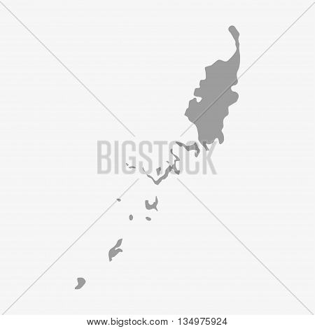 Palau map in gray on a white background