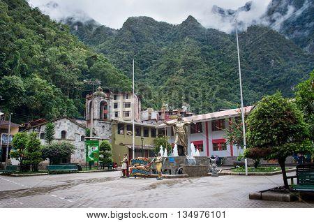 AGUAS CALIENTES PERU - MARCH 14 2015: Aguas Calientes (Machu Picchu) is town on the Urubamba River in Peru.