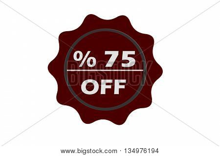 stamp 75 percent off with red text over white background.red seal.seal.