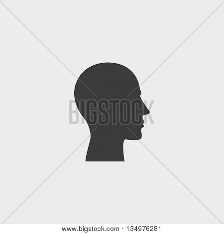 Human profile icon in a flat design in black color. Vector illustration eps10