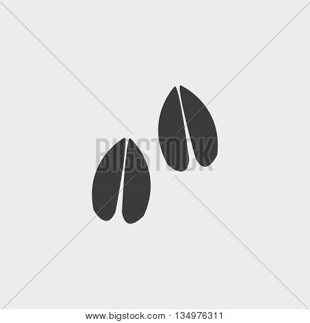 Hoof print icon in a flat design in black color. Vector illustration eps10