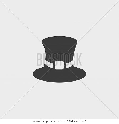 Top hat icon in a flat design in black color. Vector illustration eps10