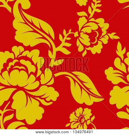 Russian National Pattern Hohloma. Traditional Folk Ornament In Russia. Yellow Flowers On Red Backgro
