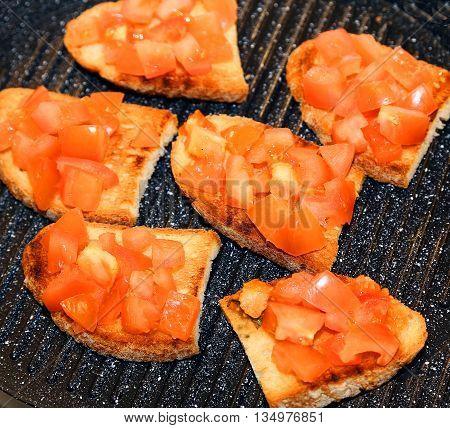 Six Bruschetta With Italian Bread And Tomato