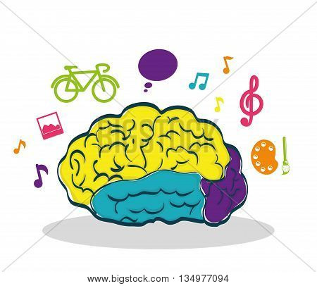 Human organ concept represented by brain and creative icon over flat and isolated background