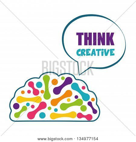 Human organ concept represented by brain and bubble  icon over flat and isolated background