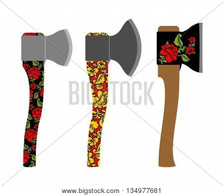 Axe  Traditional  Russian  Pattern Of Colors - Khokhloma. Weapons With Metal Blade. Carpenters Tool.