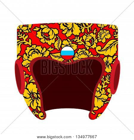 Boxing helmet Russian hohloma style. Patriot boxing accessory. National traditional folk pattern. Golden flowers on red background