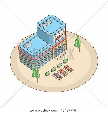 isometric shopping mart, expaned line, eps 10, cartoon vector