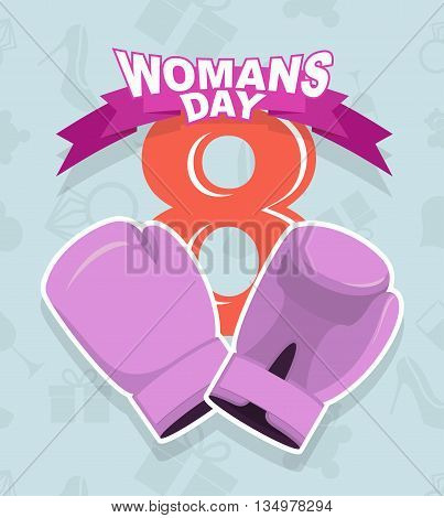 8 March International Womens Day. Pink boxing gloves