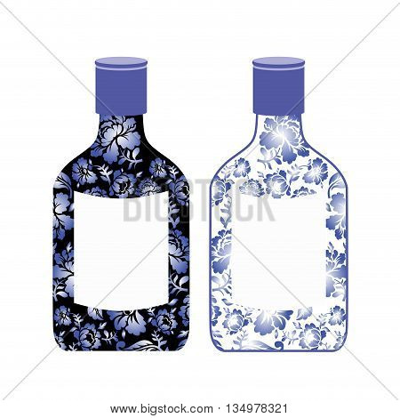 Russian Vodka Bottle Painted Gzhel. National Folk Alcoholic Drink. Traditional Pattern In Russia