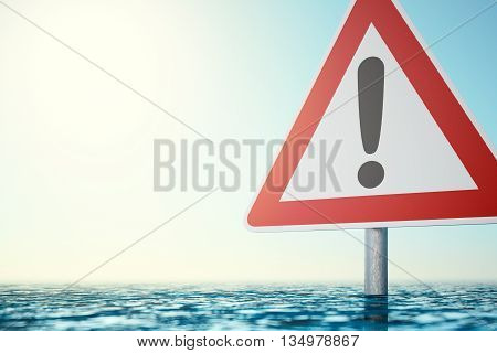 Caution Flood - Computer generated image of a warning sign which is standing in flood water. 3D rendering