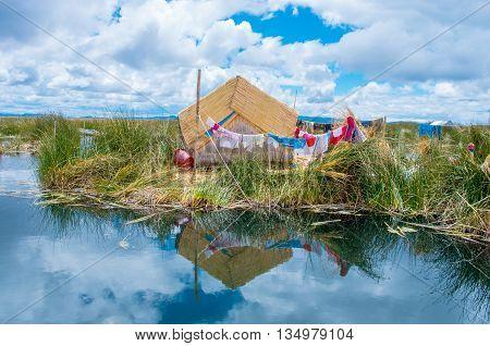 Uros Islands at Lake Titicaca in Peru