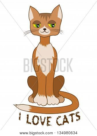 Ginger cat sitting alone on white background. I love cats text. T-shirt design. Vector illustration. Child book picture. Applique clothes cat design