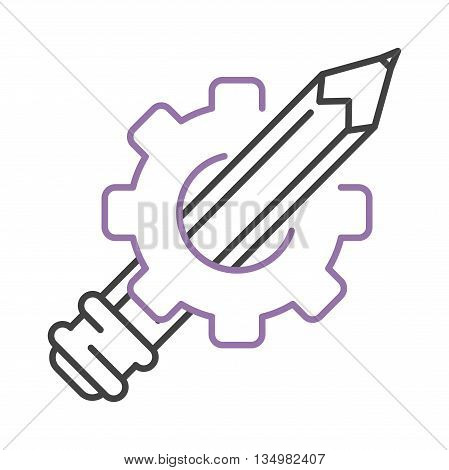 Painter pen and gear icon graphic tools. Creativity sketch silhouette.