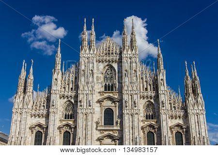 The Duomo the main church of the city of Milan Italy