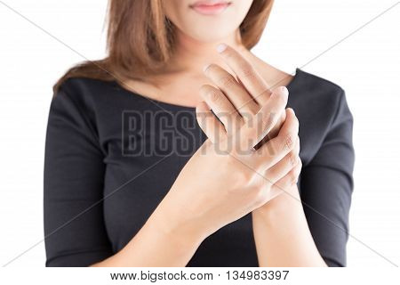 Acute pain in a women wrist isolate on white background