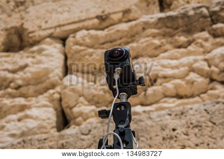 360 degrees video camera system in filmed production at the Western Wall in the old city of Jerusalem Israel.