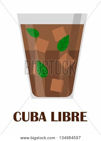Cuba libre drink with lime on white background.