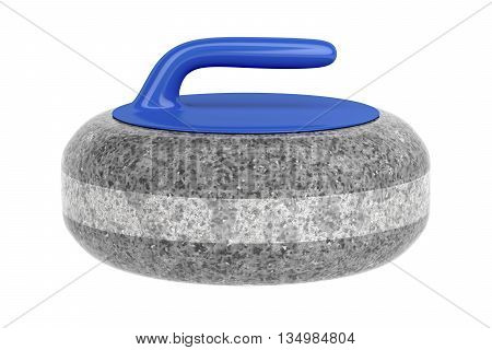 Side view of curling stone with blue handle isolated on white background, 3D illustration