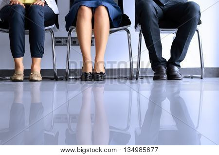 Business people waiting for job interview, stress