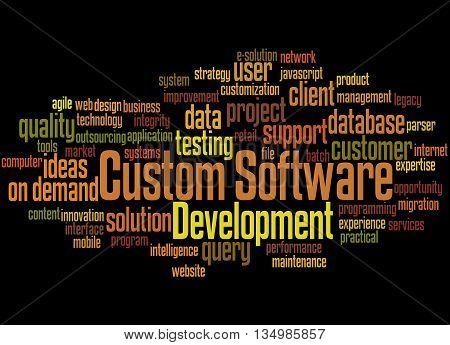 Custom Software Development, Word Cloud Concept