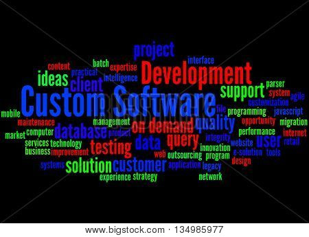Custom Software Development, Word Cloud Concept 3