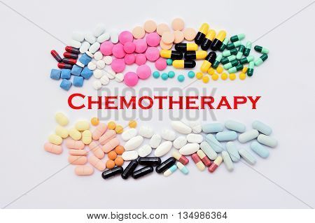 Various of drugs for chemotherapy treatment, medical concept