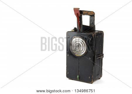 vintage railroad lantern portrait of in white