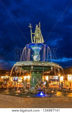 CUSCO PERU-MARCH 18 2015: Inca fountain in the Plaza de Armas of Cusco Peru