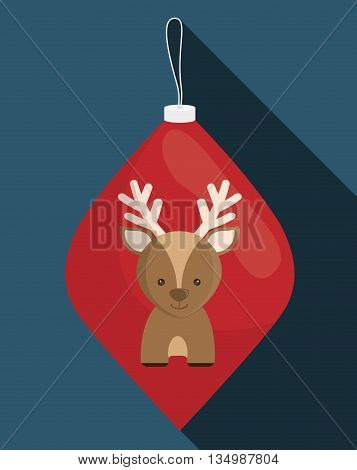 Merry Christmas holidays concept represented by Deer cartoon inside sphere icon over flat and isolated background