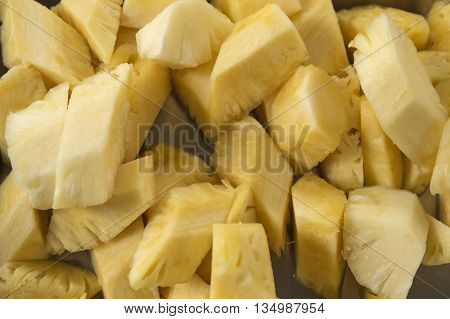 Slice of pine apples on the Tray  / Top view