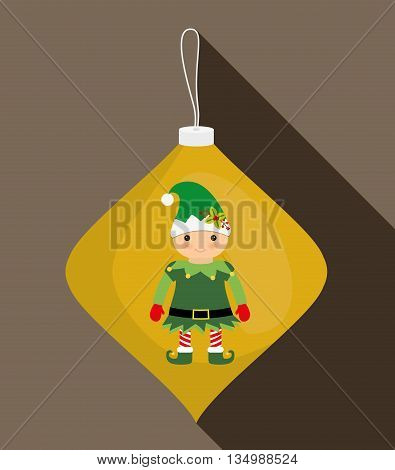 Merry Christmas holidays concept represented by elf cartoon  inside sphere icon over flat and isolated background