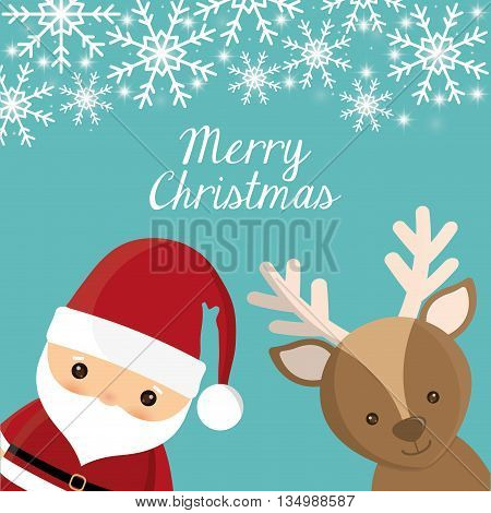 Merry Christmas holidays concept represented by Santa and deer cartoon icon over flat and isolated background