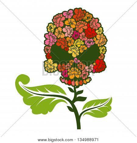 Floral Skull On Stem. Skull With Roses