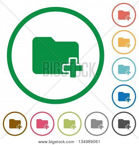 Set of Add new folder color round outlined flat icons on white background