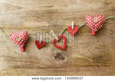 heart clothespins on string for valentine day