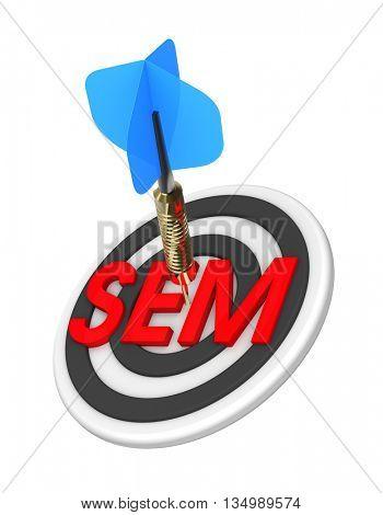 Dart hitting target. Search Engine Marketing concept. 3D illustration.