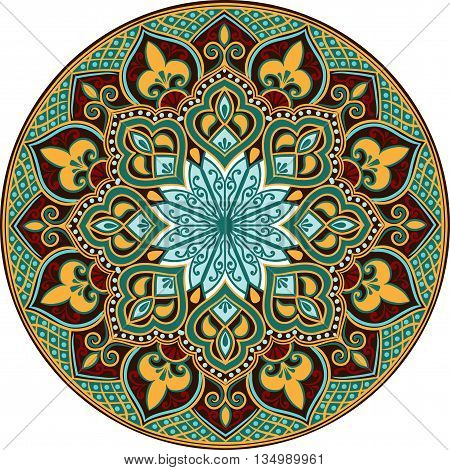 Drawing of a floral mandala in turquoise, brown and yellow and red  colors on a white background