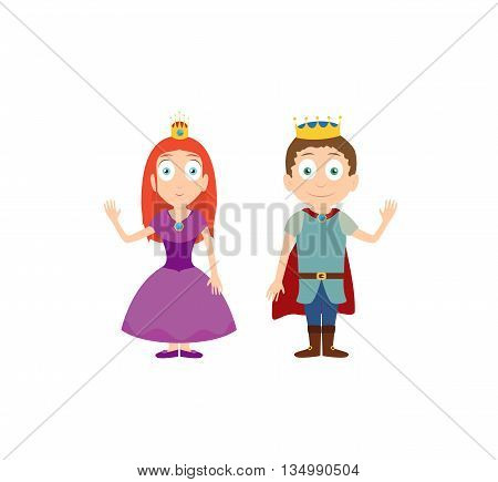 Cartoon vector illustration of character princess and prince. King and queen with purple dress. Isolated on white background