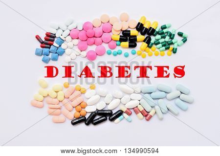 Various of drugs for diabetes treatment, medical concept
